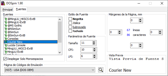 DOS printer codepages, margins and fonts selectable